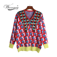 High Quality Wool Blend Sweater for Women Winter Turn Down Collar Sequins Beading Mushroom pattern Warm Knitted Pullovers C 384