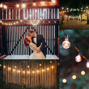 Image 5 - 8M White Cable Patio Lights G40 Globe Wedding String Light, 25 Clear Retro Bulbs,Decorative Party Xmas Outdoor Backyard Garland