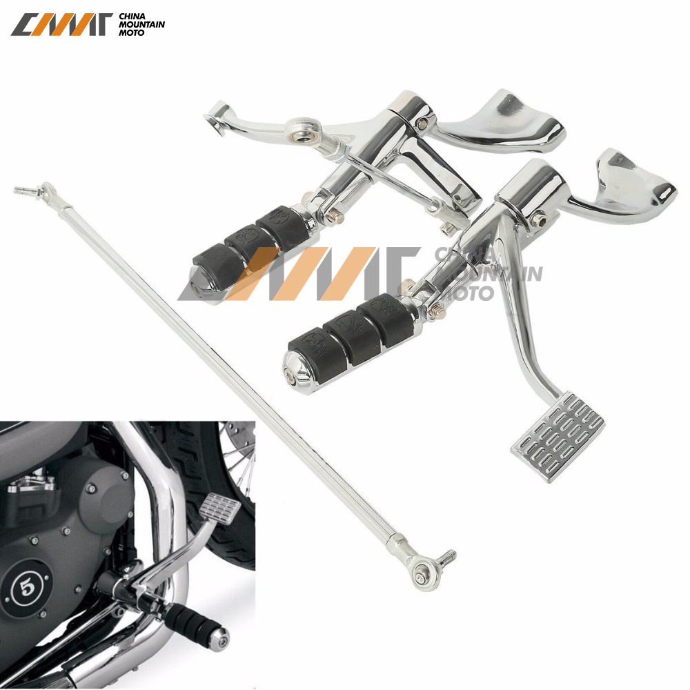 Forward Controls Kit Pegs Levers Linkage For Harley Sportster 883 1200 Chrome 2004-2013