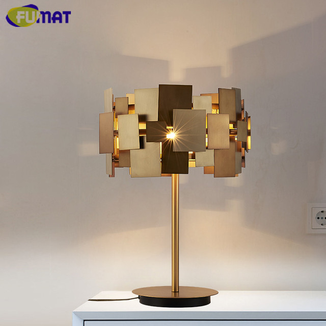fumat designer gold schreibtischlampe moderne gold edelstahl tischlampe wohnzimmer schlafzimmer. Black Bedroom Furniture Sets. Home Design Ideas