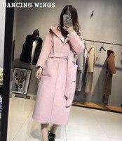 Kış Sıcak Kadın Kaşmir Kapüşonlu Ceket Gevşek Rahat Pembe kadın Zarif Uzun Ceket Yün Trençkot