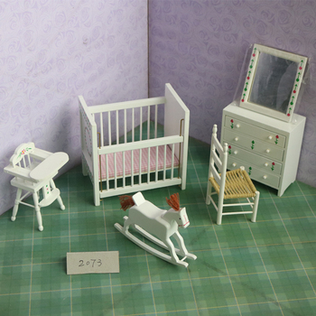 X075 children baby gift Toy 1:12 Dollhouse mini Furniture Miniature rement Doll accessories white color baby's bedroom 6pcs/set