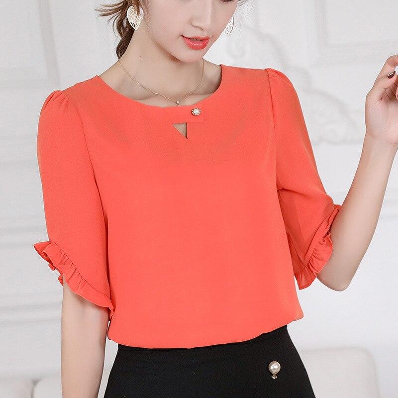 2019 Women Korean Blue   Shirt   Casual Summer New Half Sleeve O-Neck Ruffles   Blouse   Slim Women Office   Shirt   Streetwear Ladies Tops