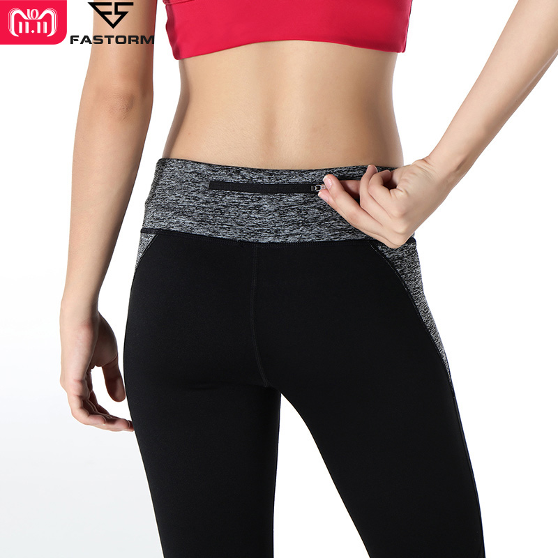 цены FASTORM Fitness Leggings Women Yoga Pant Elastic Waist Gym Sports Leggings With Pocket Breathable Running Pants