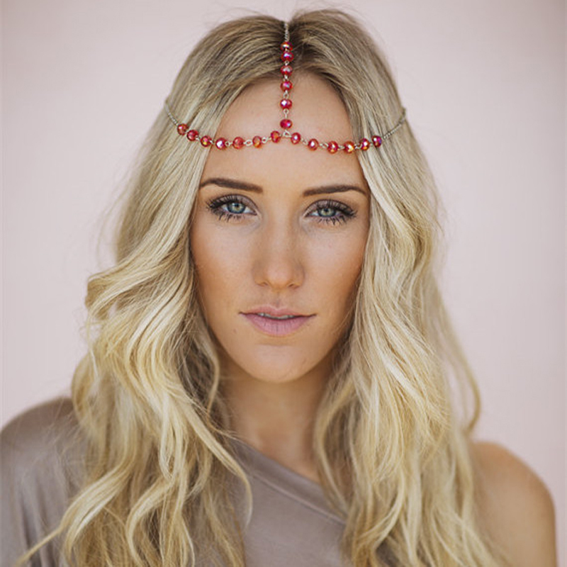2 Pieces/Lot Boho European Hot Hair Head Chain Forehead Headpiece Jewelry Indian Wedding Red Crystal Head Piece For Bride