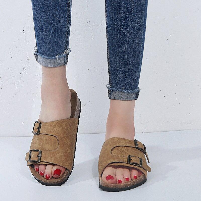 Été femmes gladiateur pantoufles daim boucle tongs liège plate-forme diapositives femme confortable décontracté chaussures de plage 1