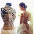 2016 Beaded Crystal Wedding Dresses High Neck Cap leeves Low Zipper Back Floor Length Bride Gowns vestido de noiva