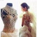 2016 Cristal Frisado Vestidos de Casamento Alta Neck Cap leeves Baixo Zipper Voltar Floor Duração Vestidos de Noiva vestido de noiva