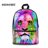 INSTANTARTS Preppy Style Women Canvas Backpack 3D Colorful Animal Lion Printing Backpacks for Teens Girls Casual Kids Rucksack
