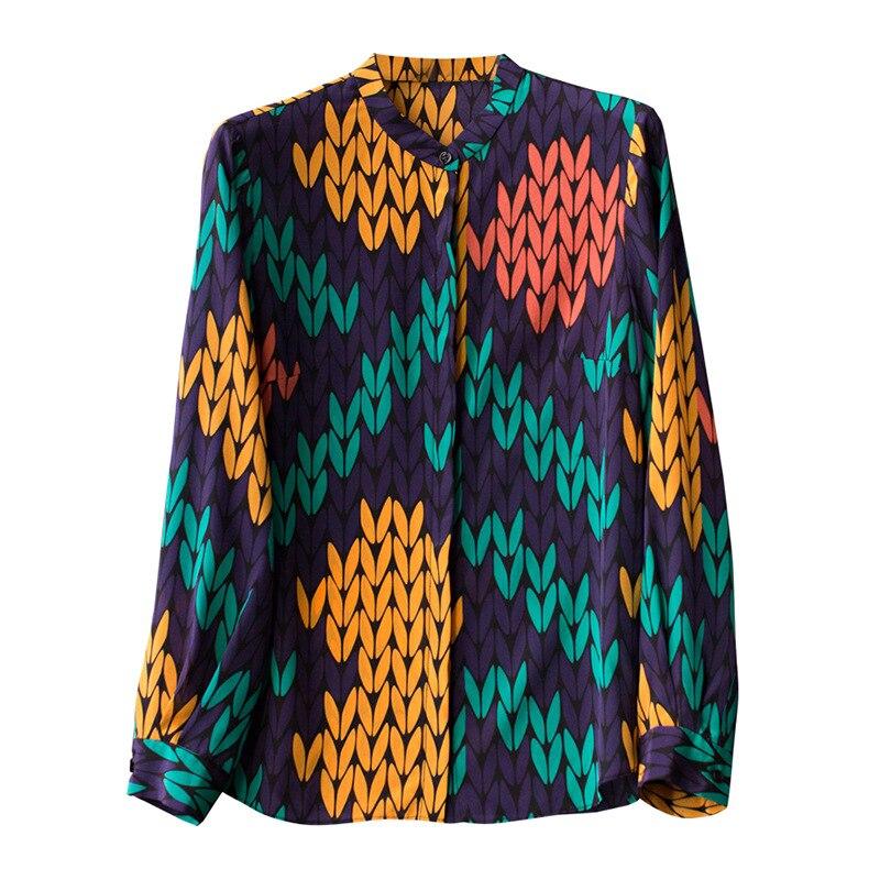 Las De Azul 2019 Impresión Asimétrica Stand Camisa Patrón Pequeño Elegante Señoras Nueva Collar Cielo Primavera Seda t6twqxa7