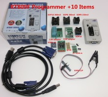 free shipping 100% origanil Newest RT809F LCD ISP programmer+ 10 adapters +sop8 IC test clip + 1.8VAdapter+TSSOP8/SSOP8 Adapter