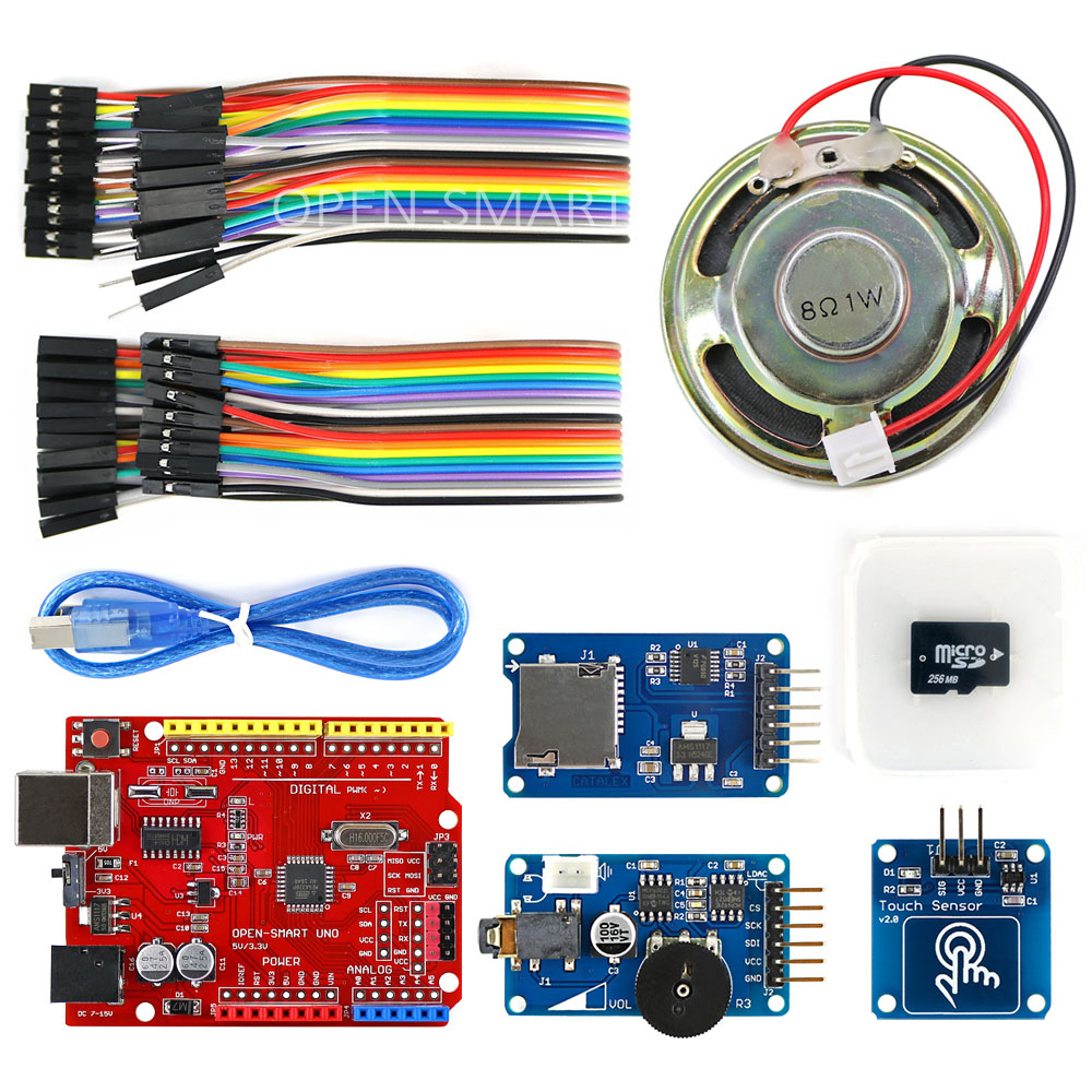 Wav Player Kit with UNO R3 Micro SD Card Touch Sensor Module and Speaker for Arduino Voice Broadcast arduino wav player 22 1khz voice play sound broadcast module compatible with rpi stm32