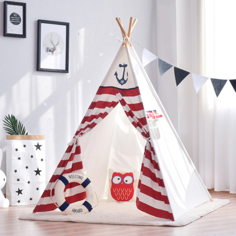 Red Stripes Teepee Tent Childrens Wigwam Tent Kids Play Tent the red tent