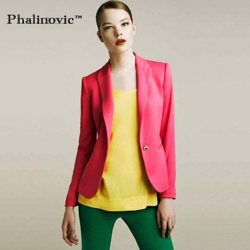 3e80fed8a3 Phalinovic 2017 New Fashion Kobiety Blezery i Kurtki Składany Rękawem  Cukierki Kolor Ubrania Cardigan Lady One Button Topy