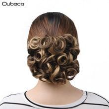 OubECA महिला सिंथेटिक घुंघराले चिगोन लोचदार नेट बाल बन्स Hairpiece में दो प्लास्टिक कॉम्ब्स क्लिप के साथ