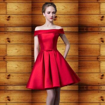 2020 new summer word shoulder banquet evening dress short paragraph red dress wedding dress