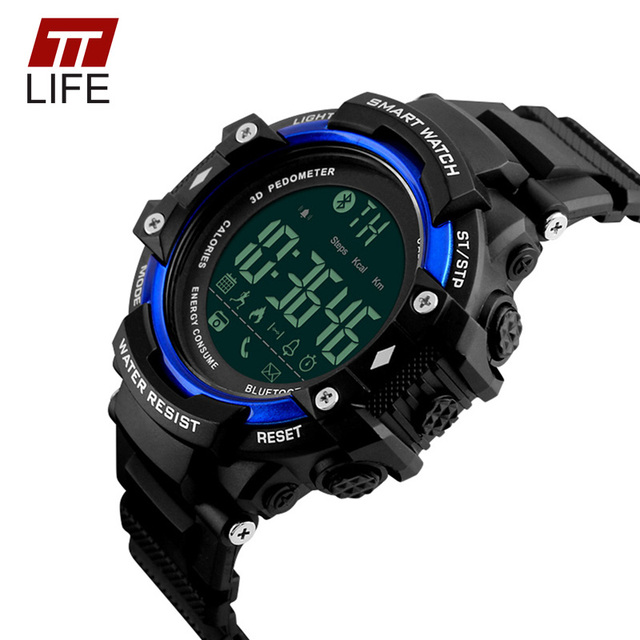 TTLIFE Men Bluetooth Digital Display Pedometer Watch 50M Waterproof Back Light Remote Camera Call Remind Date Male Watches
