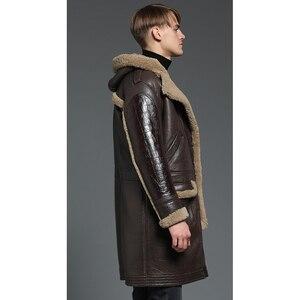 Image 5 - À capuche épaissir longue peau de mouton manteau hommes hiver chaud mouton en cuir veste en cuir véritable marron à capuche véritable fourrure vêtements