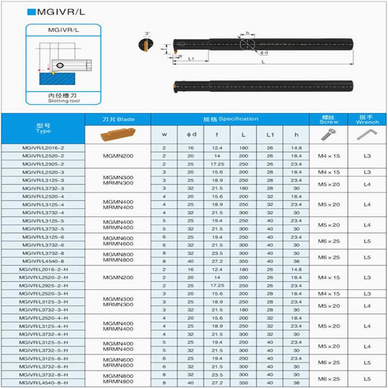 MGIVR2016 MGIVL 2016 1.5 مللي متر 2 مللي متر 2.5 مللي متر 3 مللي متر آلة خرط تعمل بالتحكم الرقمي بواسطة الحاسوب الآلات القطع الداخلية قبالة Toolholders الأخدود القاطع الداخلية ل mgmn200