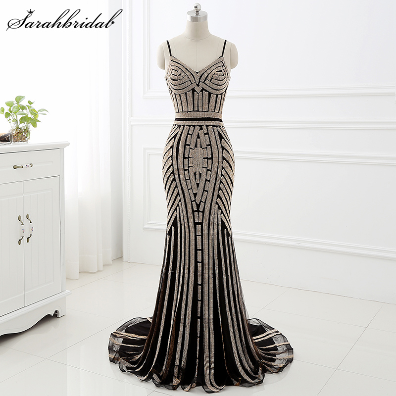 Robe De Soiree In Stock Mermaid   Evening     Dresses   Tulle Spaghetti Strap Open Back Sweep Beading Actual Image Prom Gowns LSX116
