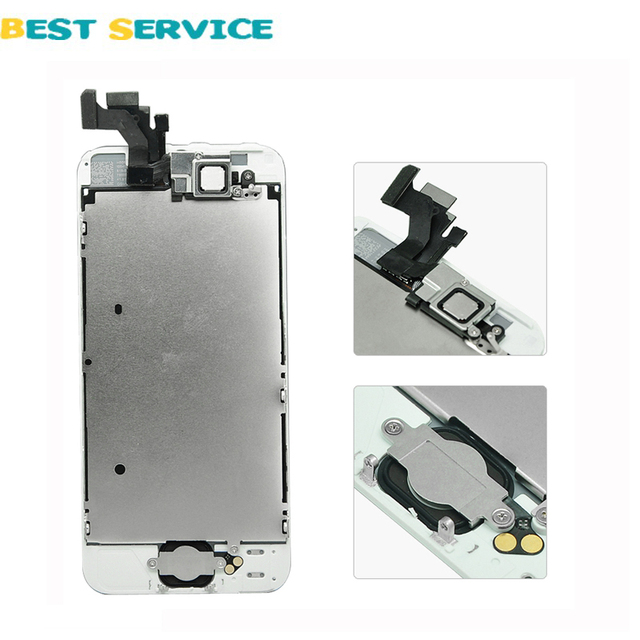 For iPhone 5S 5C 5G LCD Display + Touch Screen Digitizer +Frame+Menu Button+Front Camera +Tool Free Shipping
