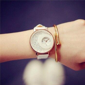 Hot Sale Mxre Brand Pearl Stylish Diamond Leather Quartz Watch Wristwatch for Women Ladies Girls Black White OP001 diamond stylish watches for girls