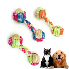 Cotton Rope Dog Toy Knot Barbell Puppy Chew Teething Toys Teeth Cleaning Pet Palying Ball for Small Medium Large Dogs Wholesale pet dog puppy chew tug teeth cleaning knot toy tennis ball w rope