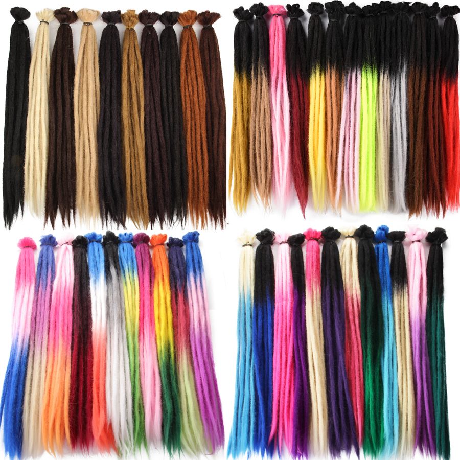 Alileader Brown Handmade Dreadlocks Hair Extensions 20 Inch Crochet Braids Maya Hip-Hop Synthetic Dreads Crochet Braiding Hair