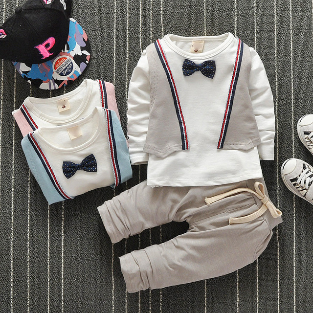2016 New Autumn Baby Boy Clothes Gentleman Suit Toddler Boys Clothing Set Baby Infant Clothing Wedding Birthday Outfits W1615196