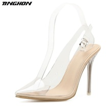 TINGHON  High Heels Women Gladiator Sandals Summer Transparent Shoes Pointed Toe Heeled Ladies