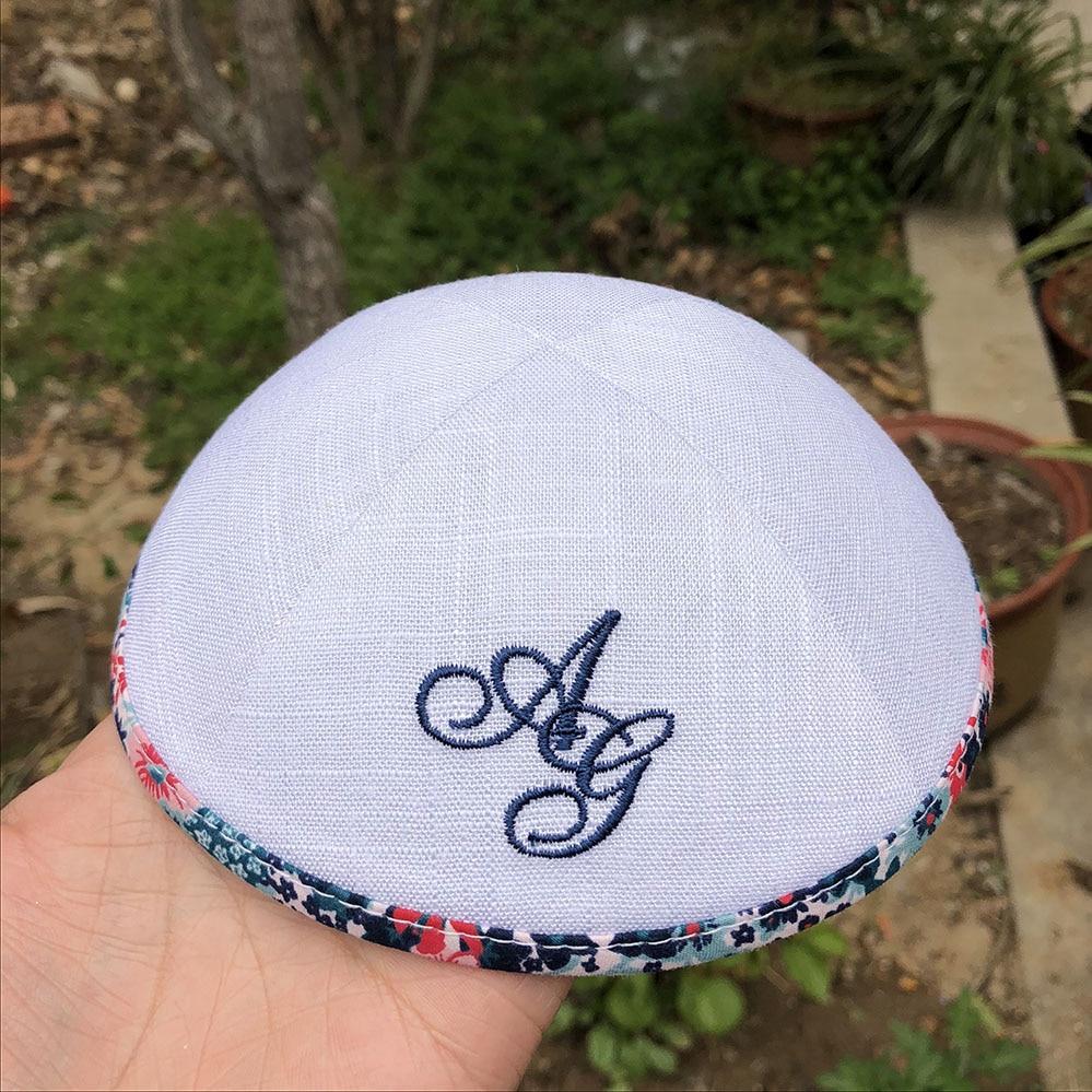 Cipa Kippah Caps Strong-Willed White Linen Kipot Jewish Caps For Wedding Kippot Yarmulkes