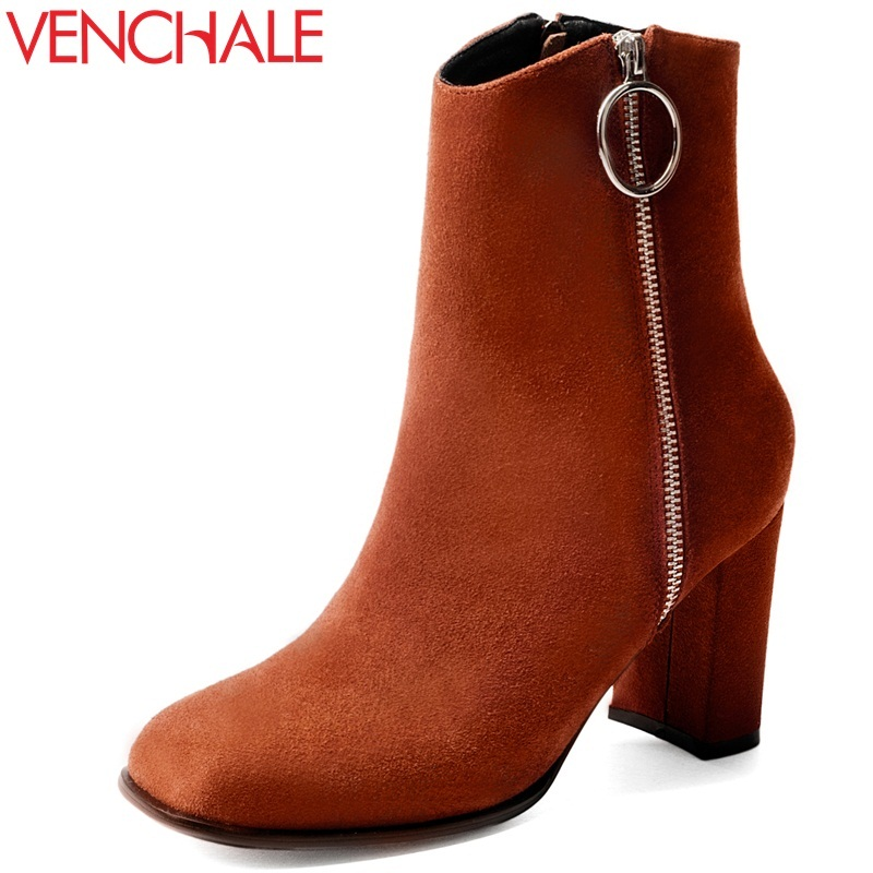 VENCHALE woman fashion cow suede ankle boots square toe 9 cm high heel ladies high heels thick heel zipper shoes leather boots venchale 2018 new med square heel cow