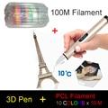 X4 3D Pluma Impresión Baja Temperatura Crafting 0.6mm Boquilla para PCL Filamento con 3 Colores 3 M Filamento de Plata Oro rosa azul