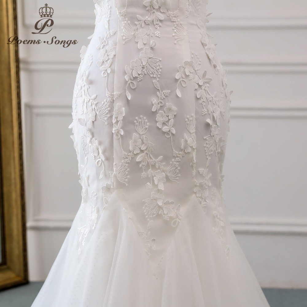 Image 5 - PoemsSongs 2019 new style beautiful three dimensional flower lace wedding dress Vestido de noiva Mermaid dress  robe mariage-in Wedding Dresses from Weddings & Events