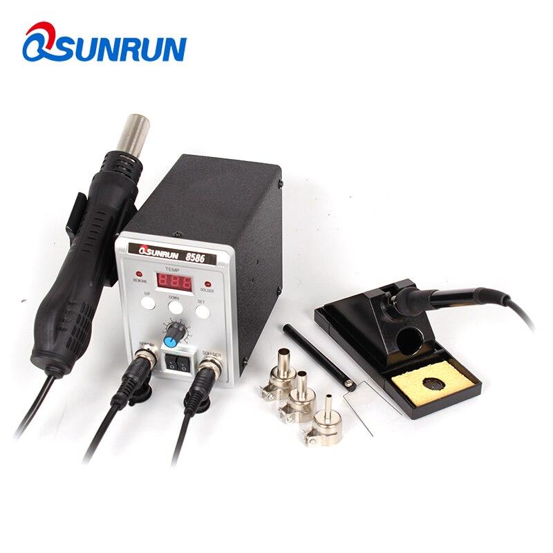 8586 700W 110V 220V 700W Qsunrun 2 in 1 SMD Rework Soldering Station Welding Soldering Iron