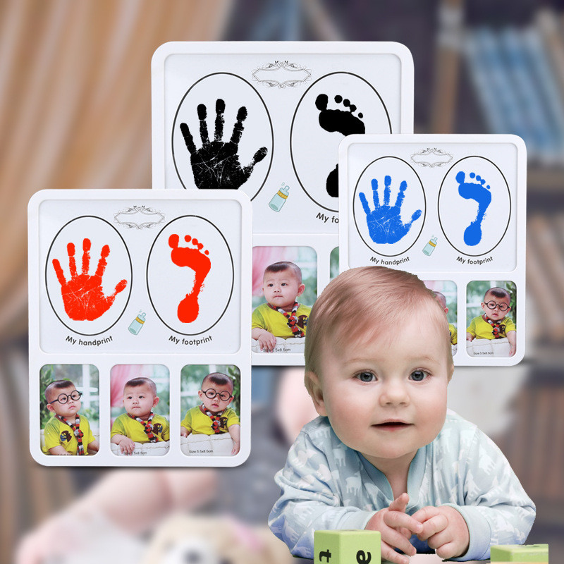 DIY Photo Frame Newborn Baby Handprint Foodtprint Inkless Touch InkPad Non Toxic Picture Frame Home Decor Bithdays Gift For Baby arthur 15 inkpad diy s0051