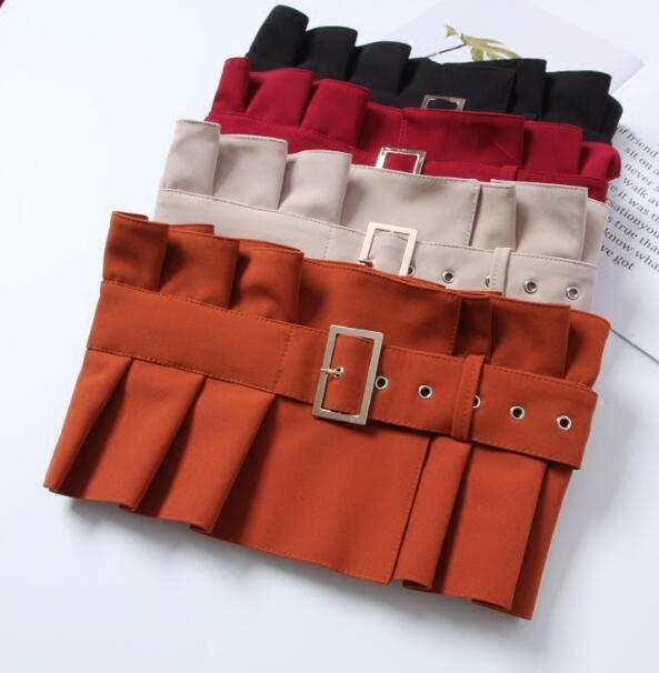 Women's Runway Fashion Fabric Pleated Cummerbunds Female Dress Corsets Waistband Belts Decoration Wide Belt R1471