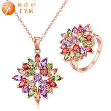 FYM Fashion Brand Luxury Rose Gold color Colorful Zircon Necklace Ring Set Cubic Zirconia Women Ring Size 7-8 Jewelry Sets blucome brand design rose gold color square cubic zircon ceramic earrings ring set chinese porcelain women wedding jewelry sets
