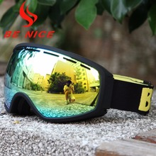 Be Nice Brand Outdoor men women with Detachable Dual Layer Anti-Fog Double Lens skiing eye wea Ski & Snowboard glasses Goggles