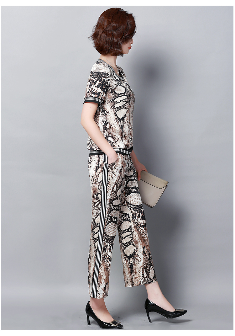 Plus Size Summer Snake Printed Two Piece Sets Women Short Sleeve Tops And Wide Leg Pants Suits Casual Elegant Korean Womens Set 49