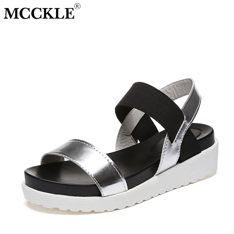 MCCKLE Women Sandals Slip On Elastic Band Female Summer Shoes Platform Roman Female Flat Sandals mujer sandalias Ladies Footwear sweet women high quality bowtie pointed toe flock flat shoes women casual summer ladies slip on casual zapatos mujer bt123