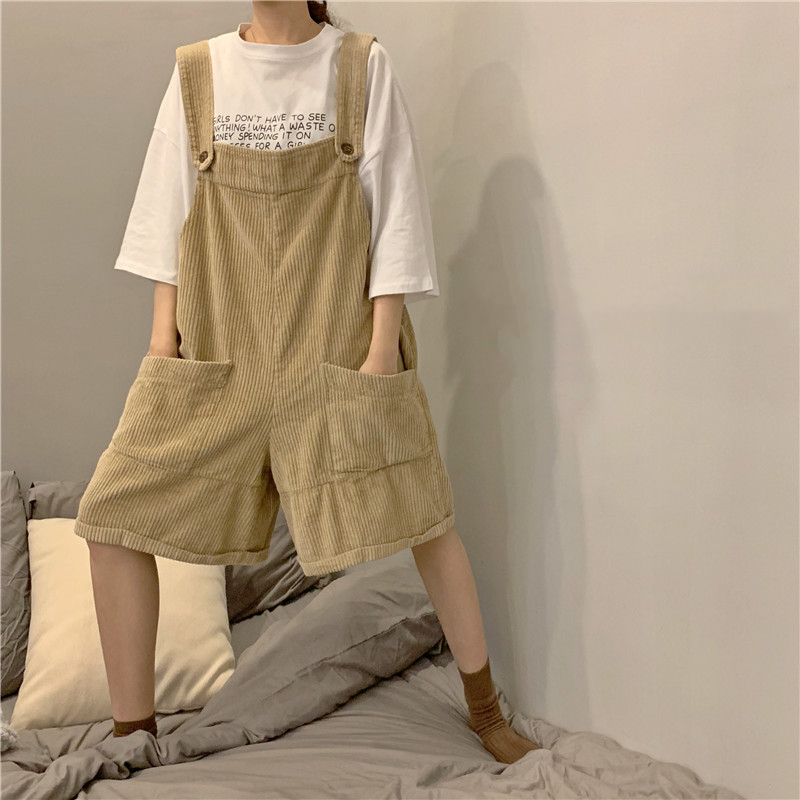 Harajuku High Waist Corduroy Jumpsuit Women Overalls Summer Vintage Loose Pockets Cargo Shorts Korean Fashion Black Girl Rompers