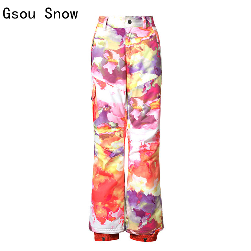 New Gsou Snow Women Ski Pants Windproof Waterproof Super Warm Outdoor Sport Wear Thermal Skiing Snowboard Trouser 2017 New Pants free shipping the new 2017 gsou snow ski suit man windproof and waterproof breathable double plate warm winter ski clothes