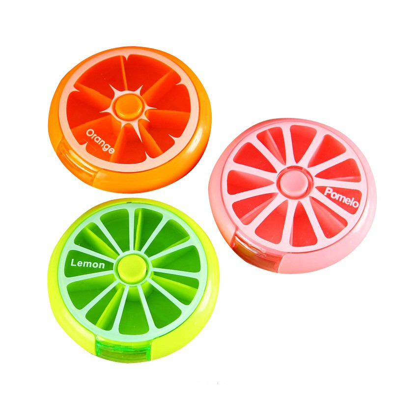 The fruit medicine box round a week rotate plastic small 7 days portable receive