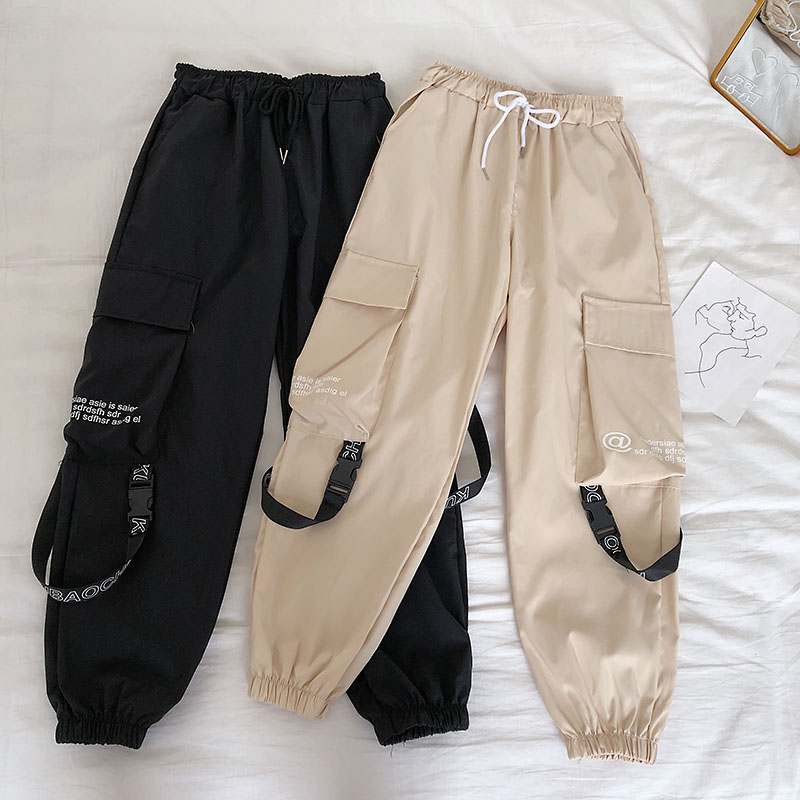 HTB1vdBebAP2gK0jSZPxq6ycQpXa1 - Neploe Hip Hop Streetwear Women Cargo Pants High Waist Pockets Ribbon Trousers Female Loose All Match New Fashion 90230