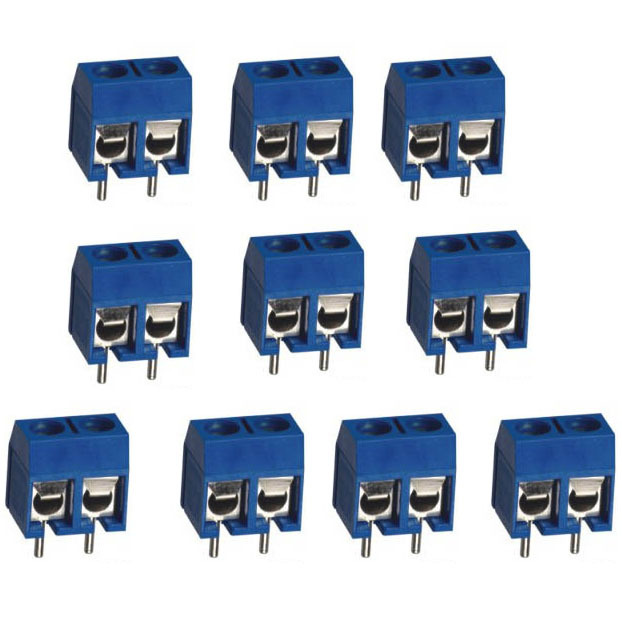 10pcs 2Pin Plug-in Screw Terminal Block Connector 5.08mm Pitch Through Hole VE164 P 5 pcs 400v 20a 7 position screw barrier terminal block bar connector replacement