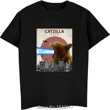 Tops Harajuku Catzilla Tshirt Men Streetwear Japanese Cat Hot-Sale Fashion Lovers Tees