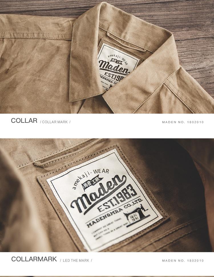 HTB1vdBqXifrK1RjSspbq6A4pFXal MADEN Men's Waxed Canvas Cotton Jacket Military Light Spring Work Jacket Khaki
