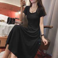 Mishow-de manga curta T-shirt saia de verão sobre o joelho vestido preto verão vestido causal MX19B1212