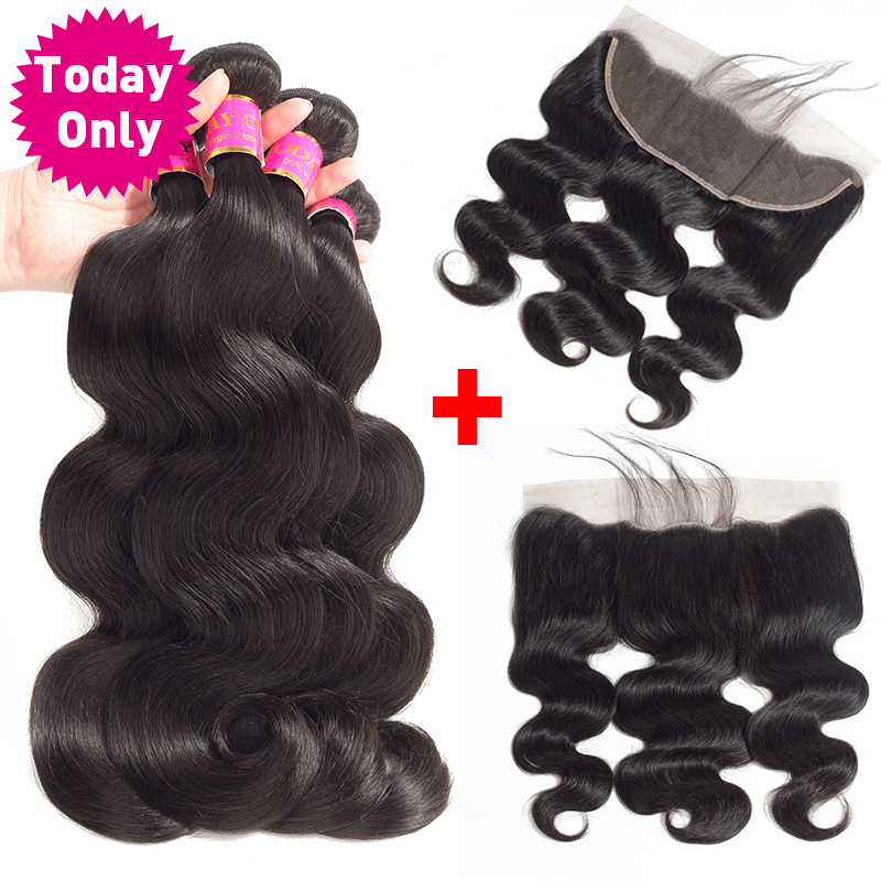 TODAY ONLY Brazilian Body Wave 3 Bundles With Frontal Remy Human Hair Bundles With Frontal Lace Frontal Closure With Bundles